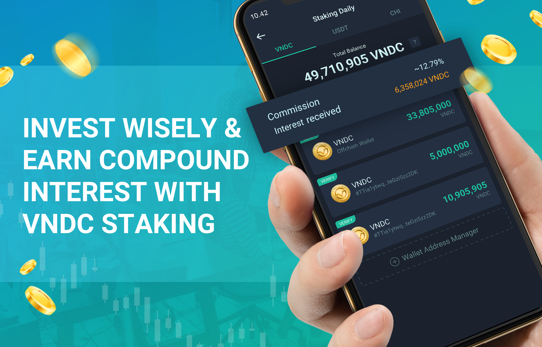 Invest wisely and earn compound interest with VNDC Staking