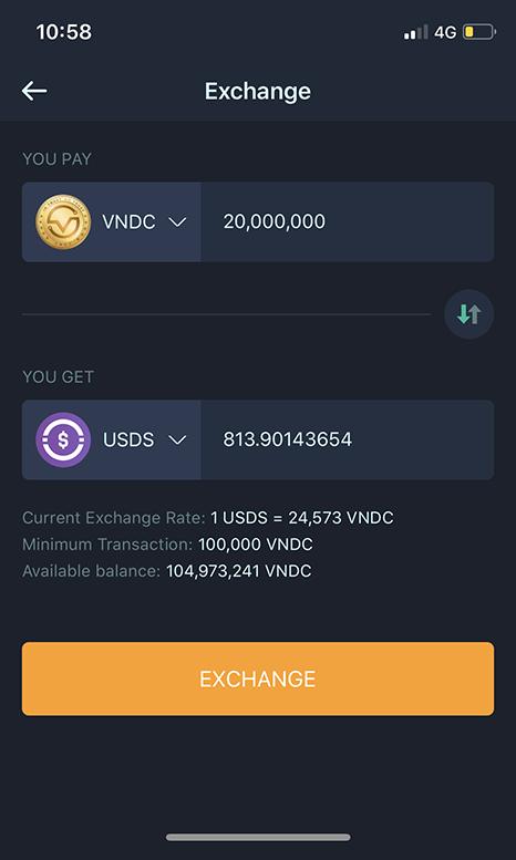 VNDC - USDS Exchange interface on VNDC Wallet App
