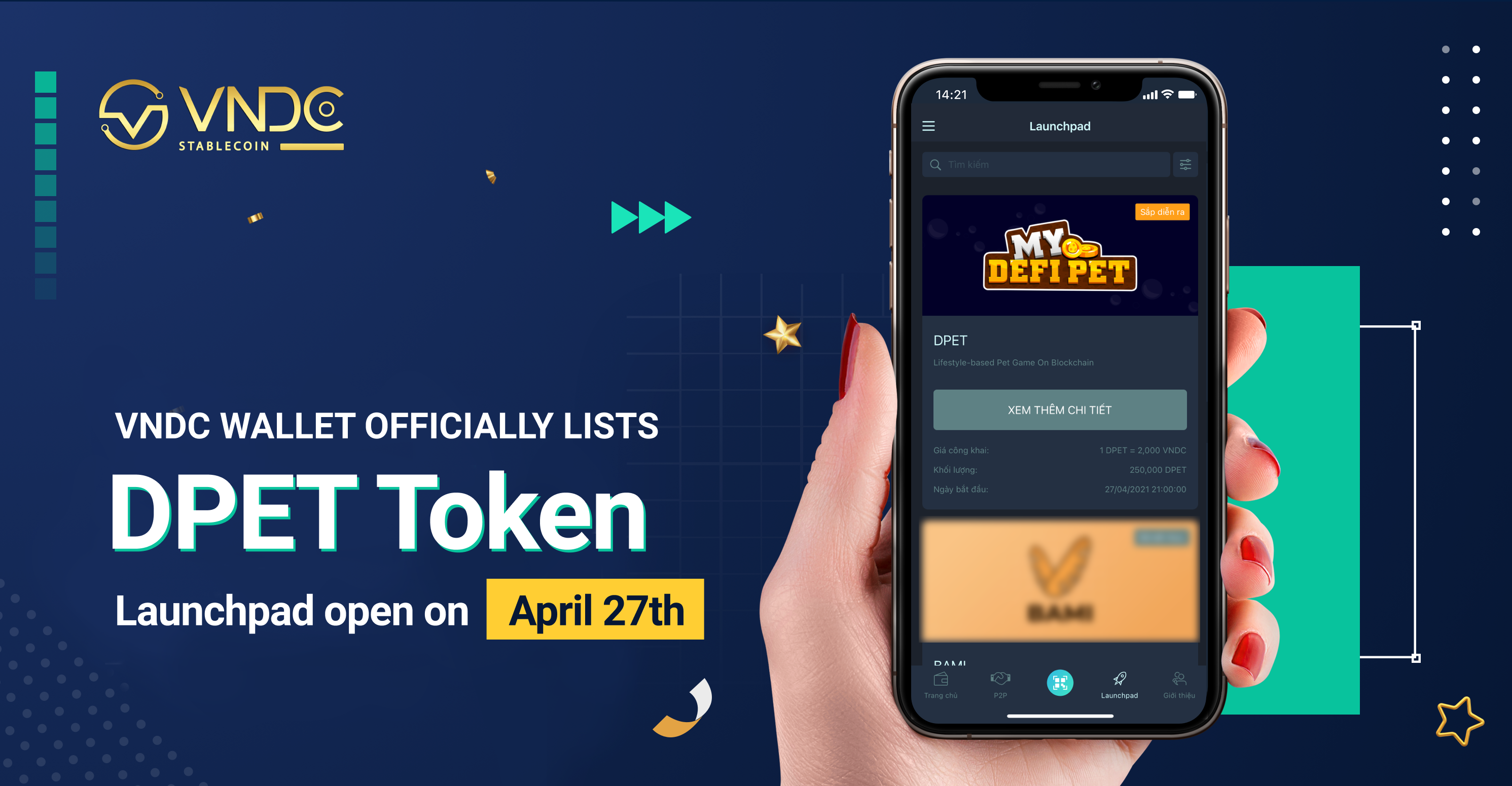 VNDC Wallet officially lists DPET Token, Launchpad open on April 27th