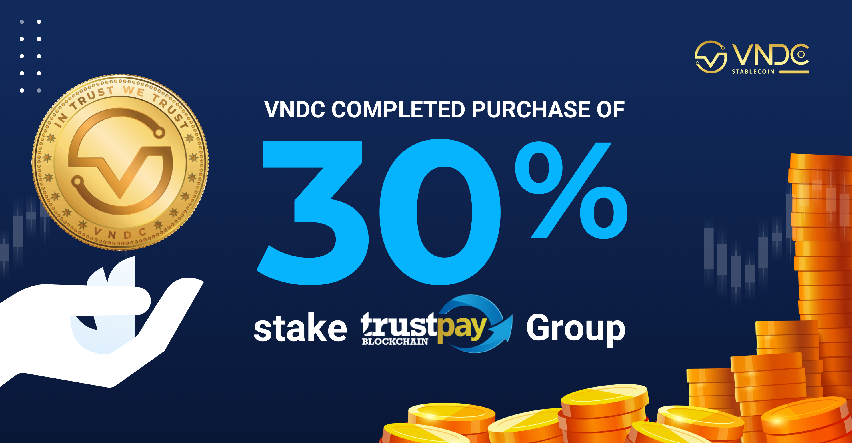 VNDC completed purchase of 30% stake in TRUSTpay Group, the company that priced VND 100 billion