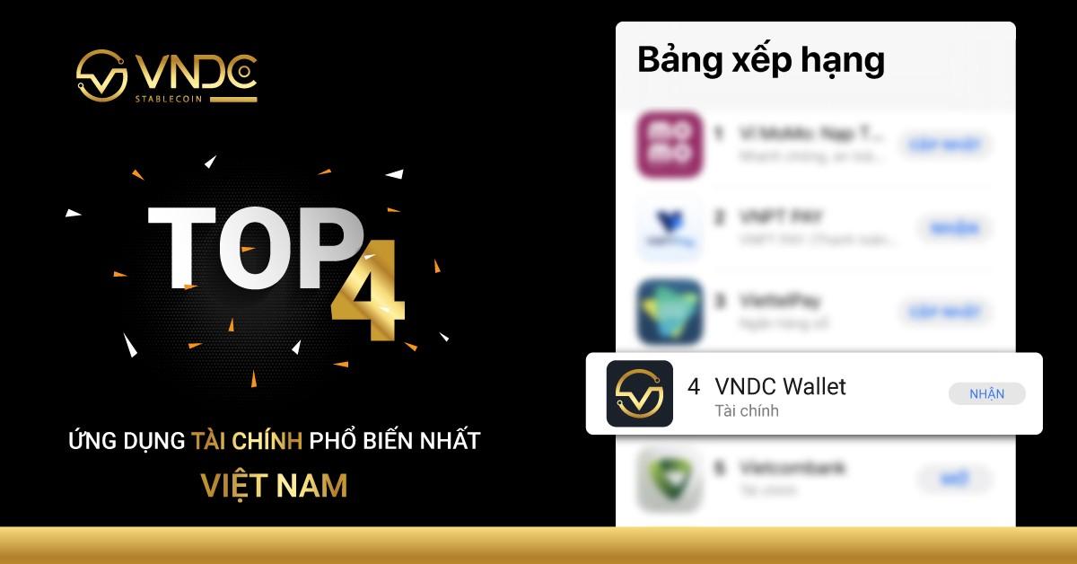 VNDC Wallet lọt top 4 ứng dụng tài chính phổ biến tại Việt Nam