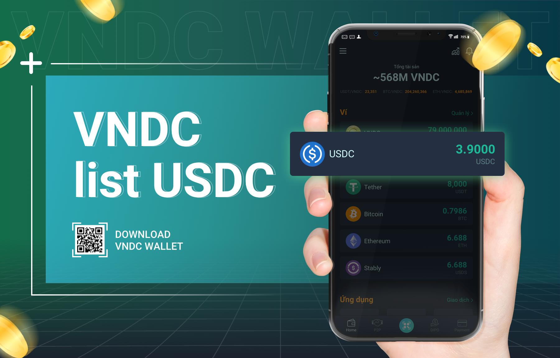 USD Coin (USDC) đã sẵn sàng trên VNDC Wallet