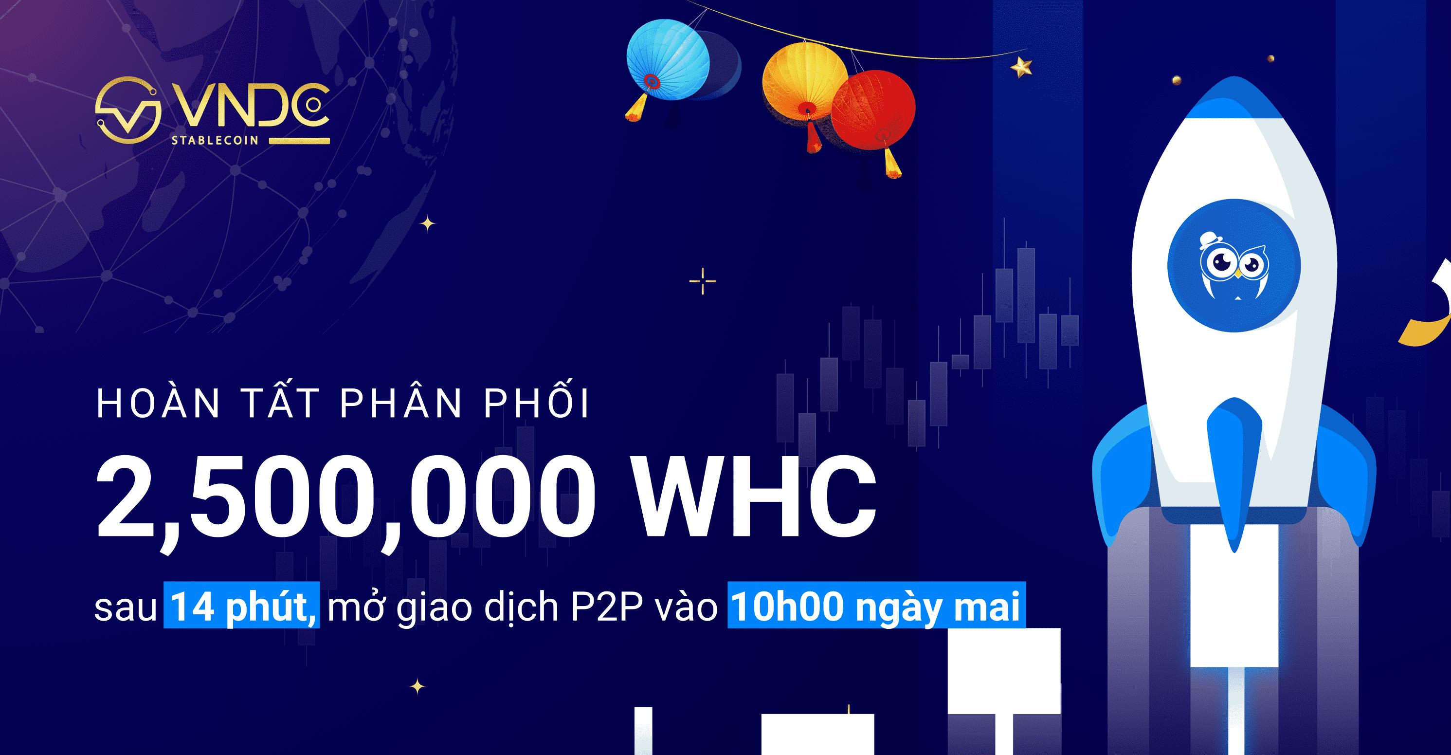 Hoàn tất phân phối 2,500,000 WHC sau 14 phút, mở giao dịch P2P vào 10h00 ngày mai