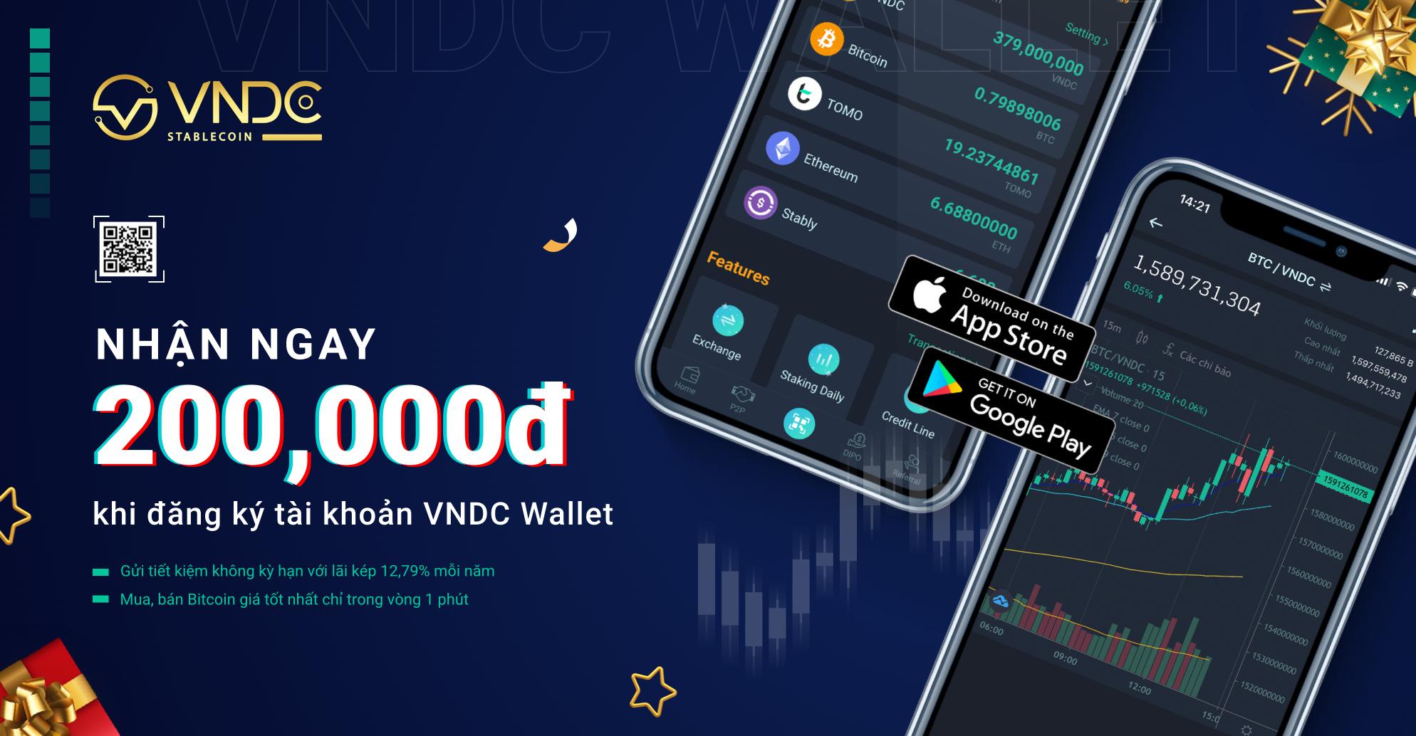 Khởi động chương trình tặng 200,000 VNDC khi đăng ký tài khoản VNDC Wallet