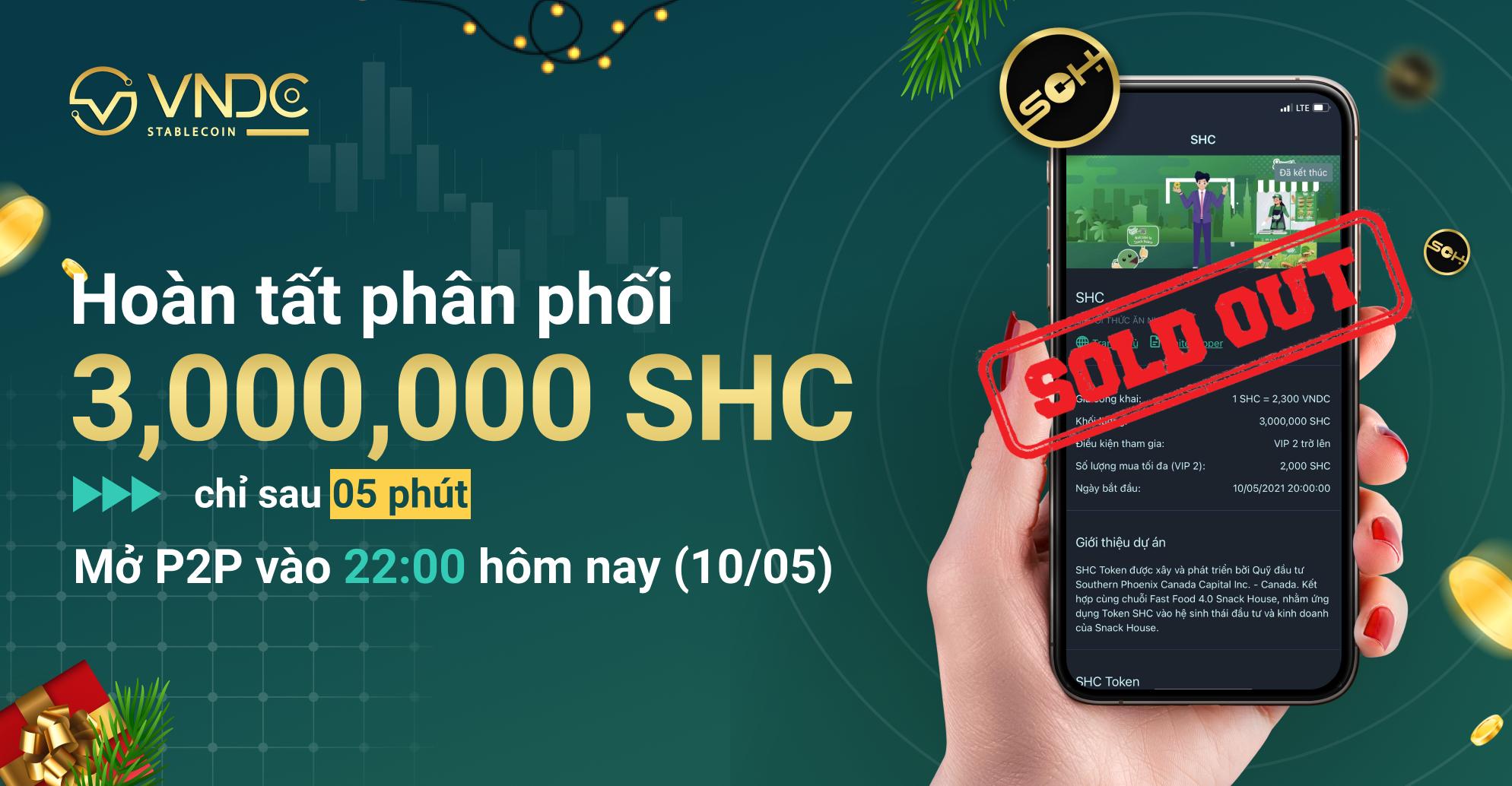 Hoàn tất phân phối 3 triệu SHC trong 5 phút, mở giao dịch P2P từ 22:00 hôm nay (10/05)