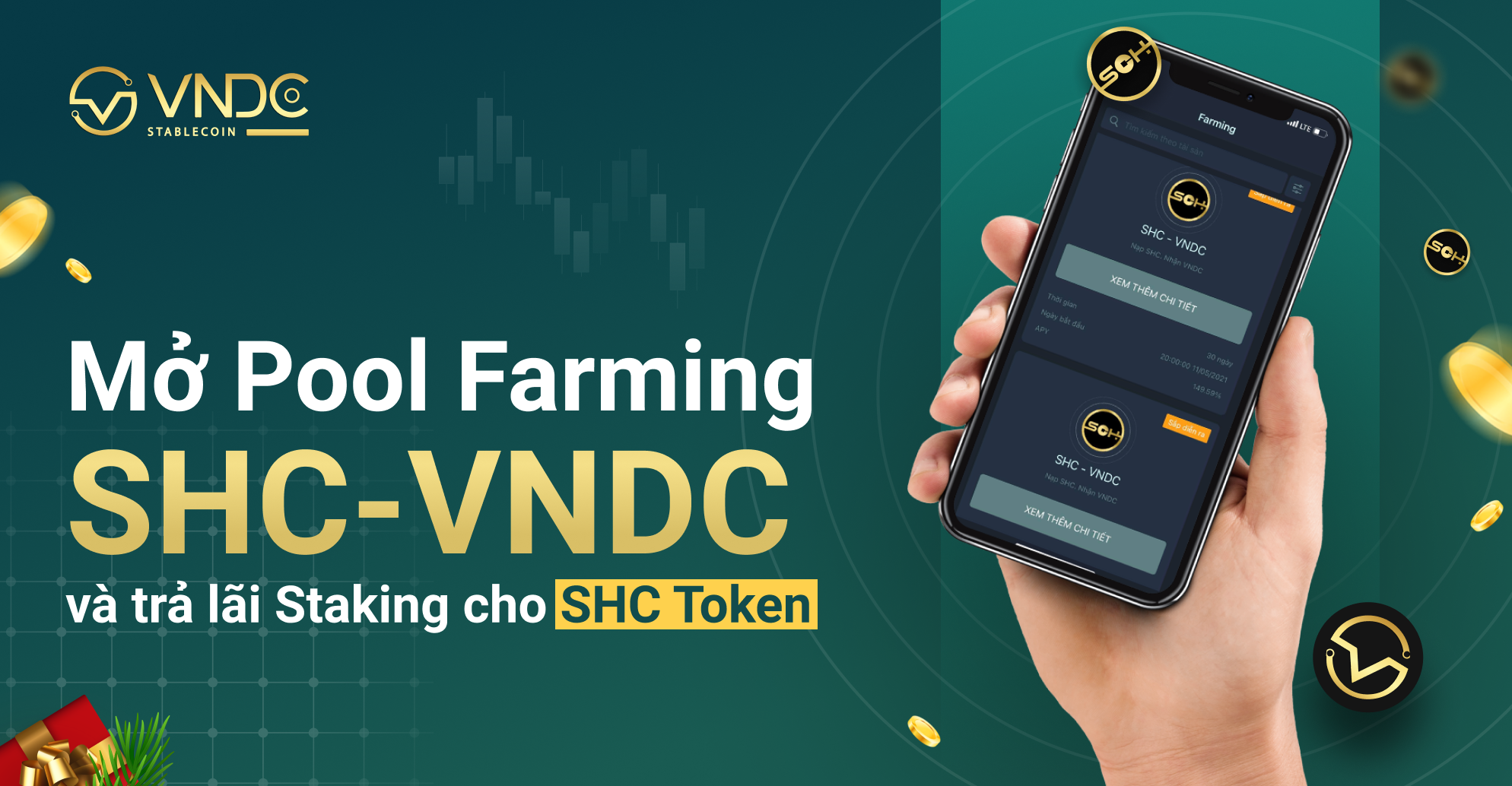 Mở Pool Farming SHC – VNDC và trả lãi Staking cho SHC Token